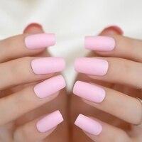 24pcs Light Pink Matte Pre-designed Nail Simple Design Long Flat ...
