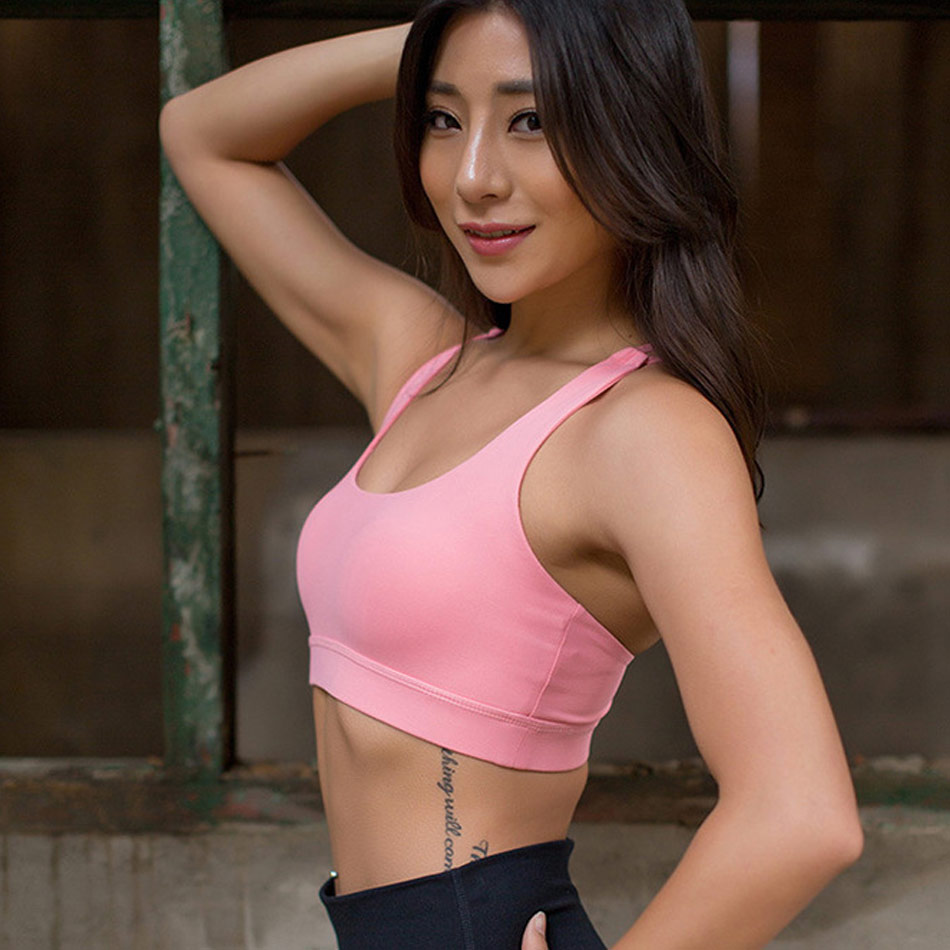 0051a0a922 Light and Airy Strappy Sports Bra Sexy Back Women Yoga Tank Top Seamless  Sports Underwear Cross Back Push Up Bra With Padded -in Sports Bras from  Sports ...