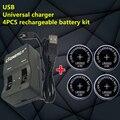 Alta qualidade NOVO carregador universal interface USB 1 PCS + 4 PCS Botão LIR2032 Bateria recarregável de célula tipo moeda