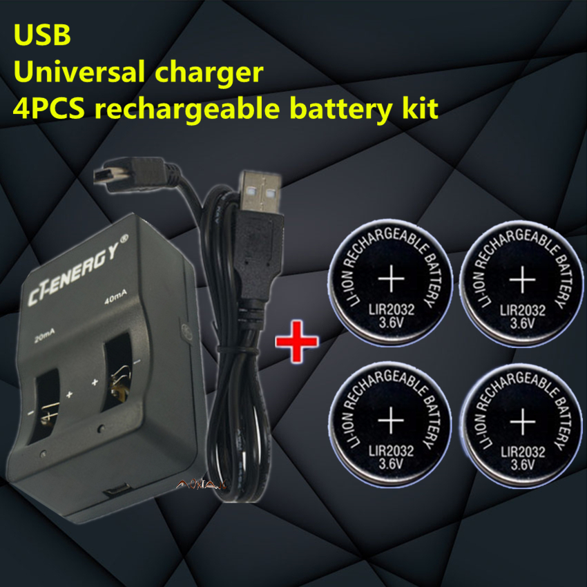 4pcs Rechargeable Button Battery Lir2032 Button Battery Able High Quality Universal Usb Interface 4-slot Charger 1pcs Batteries
