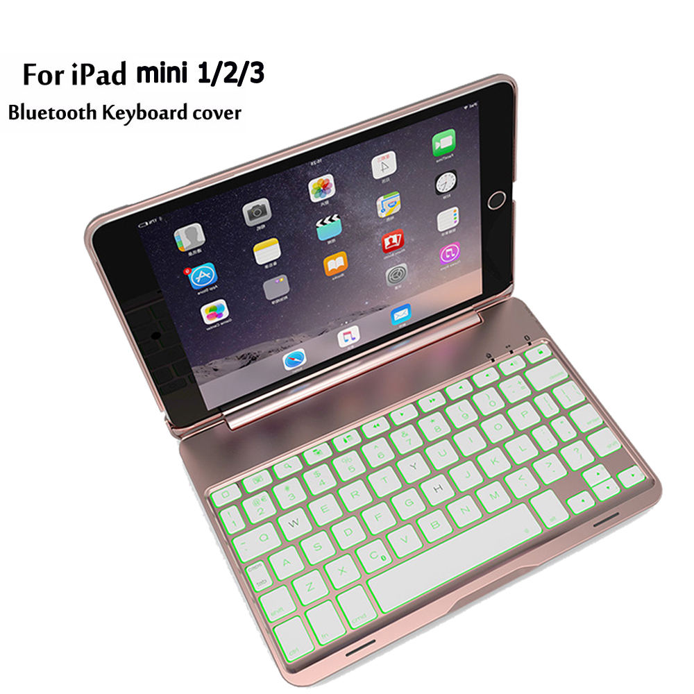 NEW  Clamshell Bluetooth Keyboard Case For Apple ipad mini1/2/3 LED 7colors Backlit keyboard with Aluminum keyboard накладной светильник preciosa brilliant 25 3305 002 07 00 00 40