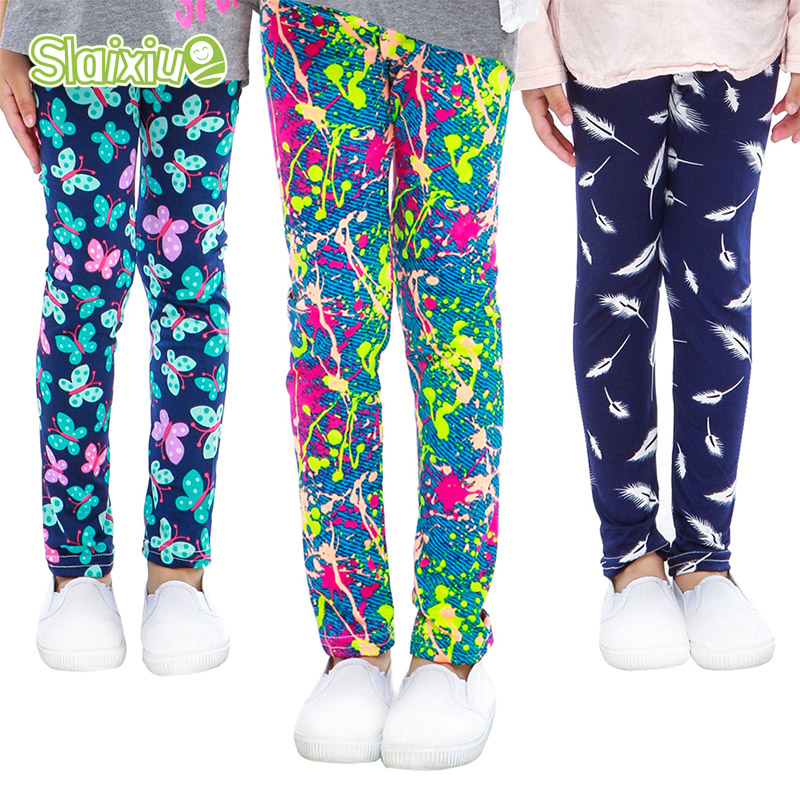 SLAIXIU Soft Girls Leggings Baby Girl Clothes Pencil Pants Cotton Kids Trousers Print Flower Skinny Children Leggings For Girls random print leggings