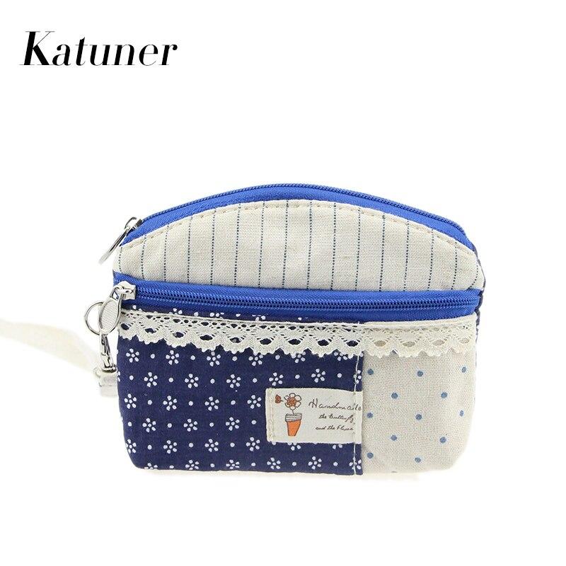 Katuner Female Fresh Dot Floral Key Money Bag Canvas font b Wallet b font Girls font