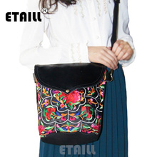 ETAILL Small Chinese Hmong Flower Embroidered Bags Vintage Women Canvas Embroidery Casual Bucket Shoulder Crossbody Bag