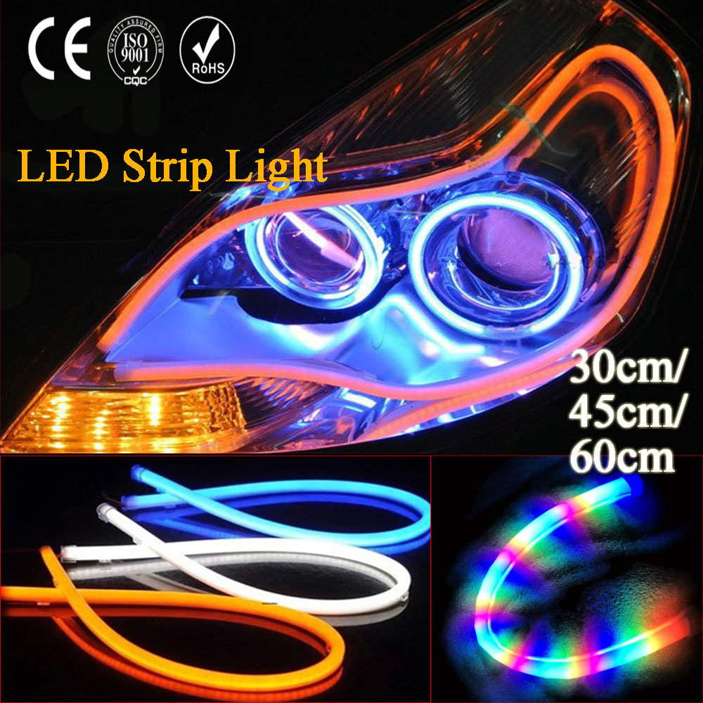 30CM/45CM/60CM Daytime Running Light Universal Flexible Soft Tube Guide Car LED Strip DRL Tear Strip Headlight for car and motor 2017 2pcs 30cm led white car flexible drl daytime running strip light soft tube lamp luz ligero new hot drop shipping oct10