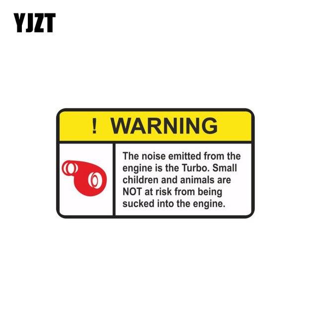 YJZT 12.4 CM * 6.8 CM AVISO O Ruído Emitido A Partir De Motor Turbo Funny Car Adesivo PVC Decalque 12-0752