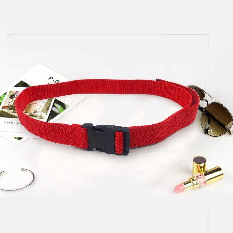 Модный черный холщовый ремень для женщин, повседневные женские поясные ремни с пластиковой пряжкой Harajuku, однотонные длинные ремни ceinture femme - Цвет: Red