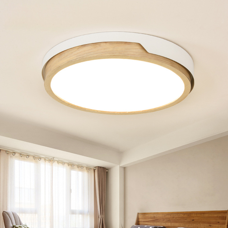 Nordic Mounted Led Round Ceiling Light Fixture Modern Wooden Indoor Lamp For Bedroom Livingroom Wood Japaness Dimmable LightsNordic Mounted Led Round Ceiling Light Fixture Modern Wooden Indoor Lamp For Bedroom Livingroom Wood Japaness Dimmable Lights