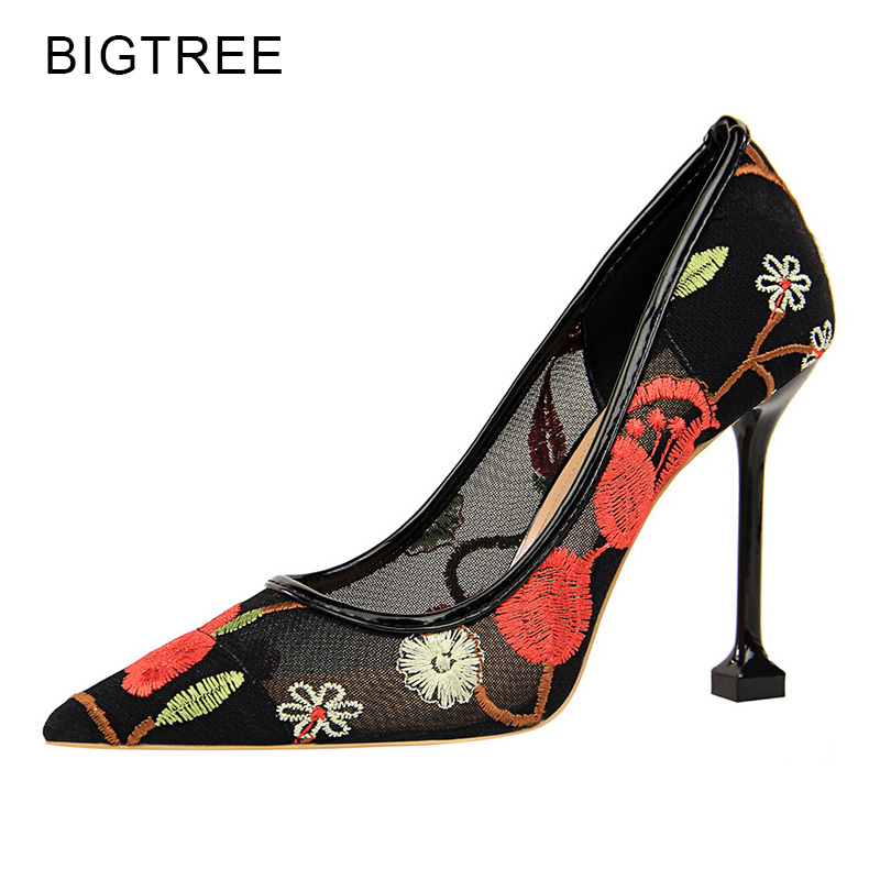 Bigtree Women Shoes Pointed Toe High Heels Mesh Lace Embroidery Stilettos Sexy Party Woman Pumps Blue Red Zapatos Mujer Size 40 apoepo brand 2017 zapatos mujer black and red shoes women peep toe pumps sexy high heels shoes women s platform pumps size 43