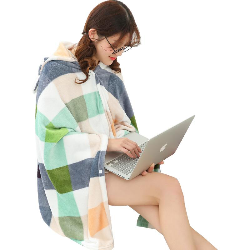 Winter Thick Comfy Hooded Plaid Blanket Sweatshirt Unicorn Warm Coats TV Hoodie Blankets Fleece Blanket Adult for Sofa Beds Kids 7