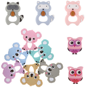 Image 1 - Großhandel Waschbären Silikon Koala Baby Beißring 10pc BPA FREI Neugeborenen Zahnen Halskette Dusche Geschenk Cartoon Tier Anhänger DIY Eule