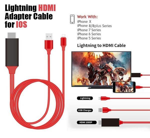 Pantalla del iPhone a TV Cable HDMI PnP Plug and Play Dropshipping 2018