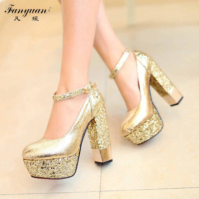 5f21d0ae5ba New 2017 Spring/Summer Wedding Shoes Bride High Heel Round Toe Lady Pumps  Bling Buckle Strap Platform Mary Janes Party Pumps