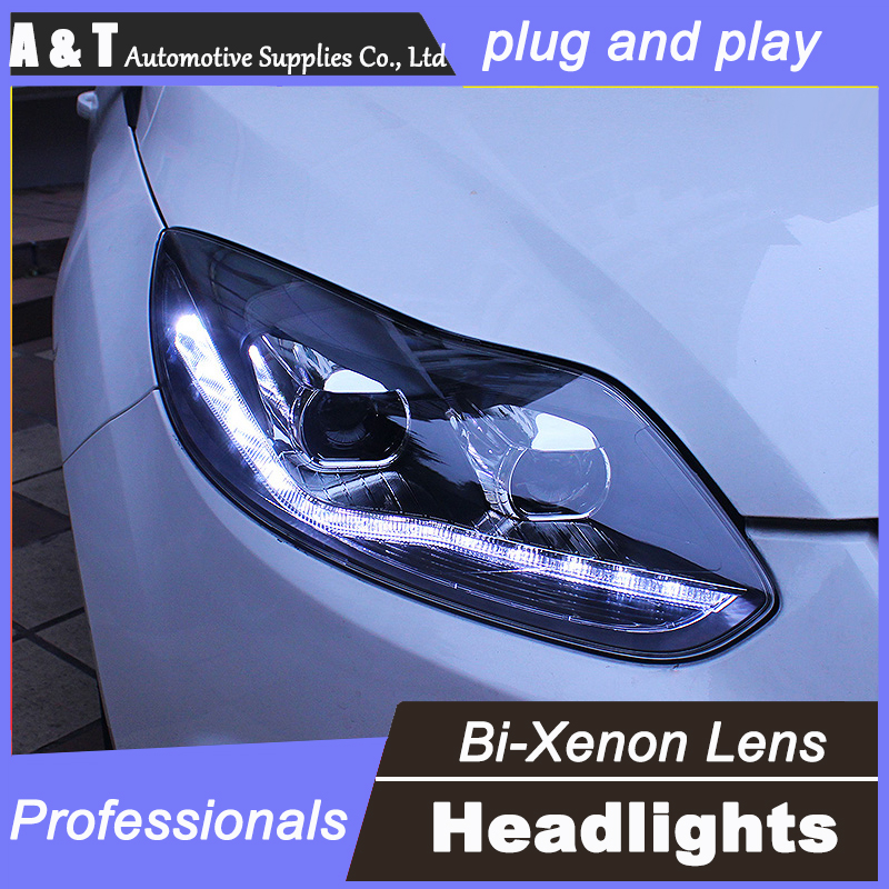 цены  car styling For Ford Focus headlights U angel eyes DRL 2012-2014 For Ford Focus LED light bar DRL Q5 bi xenon lens h7 xenon
