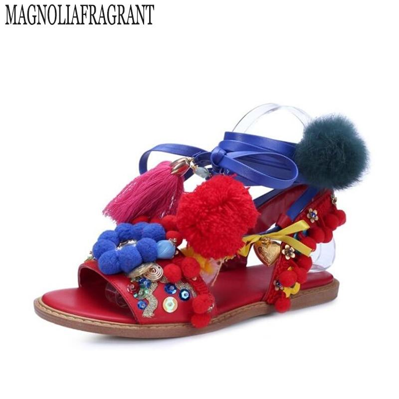 Handmade Rome gladiator sandals women Flats Fringed Tie Up Woman Sandals Shoes Fur Cross Strap PomPom