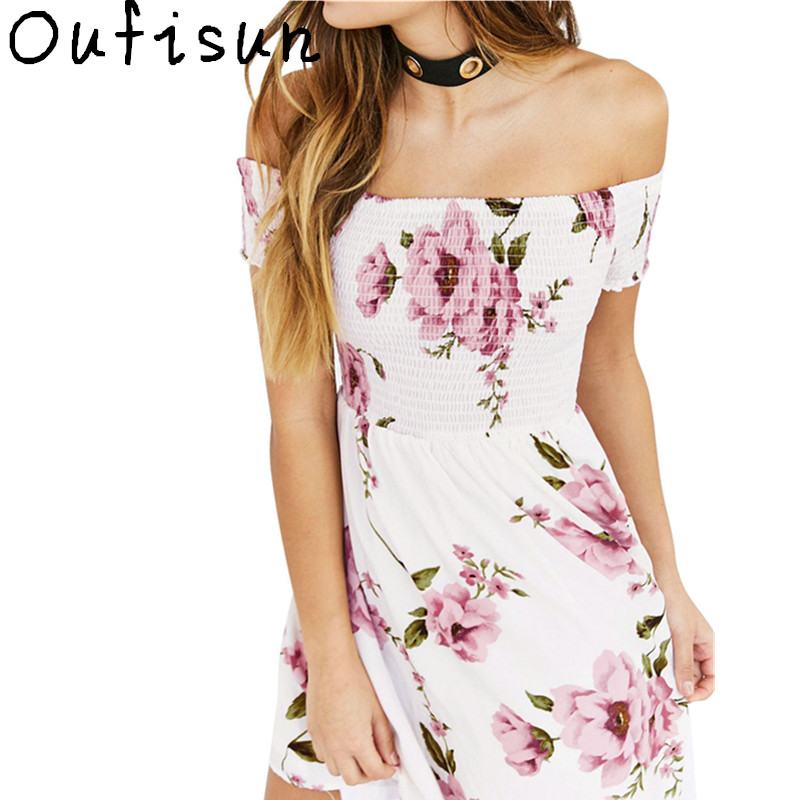 Oufisun Print Floral Mini Dress Sexy Off Shoulder Casual Cut Short Sleeve Boho Beach Summer Dresses Elastic 2018 New Women Dress