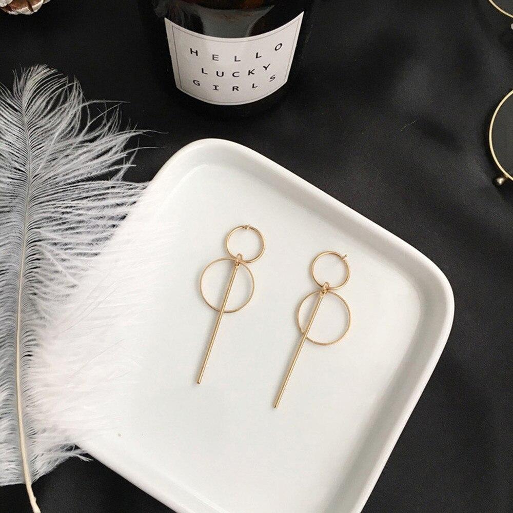 Fashion Metal Geometric Earrings Punk Simple Gold Color Long Tassel Pendant Size Circle Earrings For Women Hollow Drop Earrings