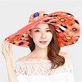 2016 Nuevo Sombrero de Ala Ancha Sombreros de Sun Beach Summer Mujeres Imprimir Flor Fold ZMF784512 Chapeau Señoras Sombrero Anti-Ultravioleta