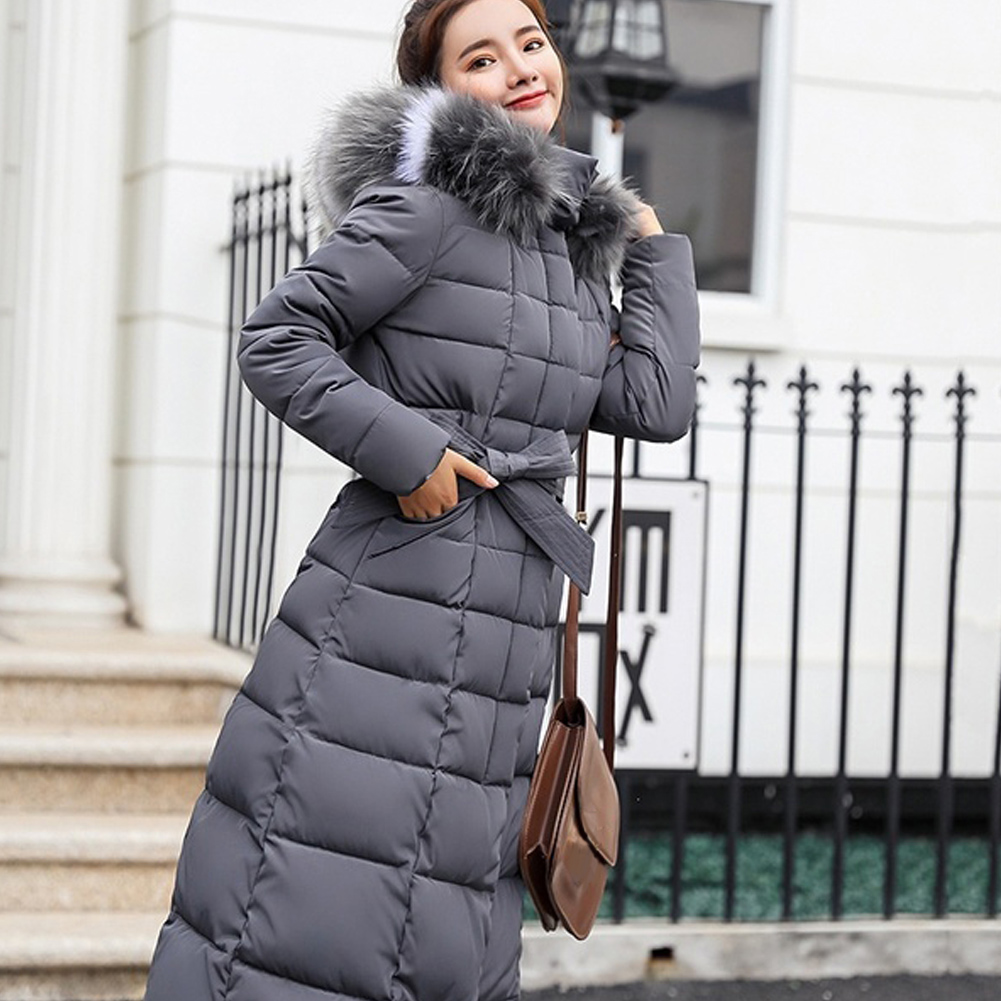 Women Down Coat With Hat Long Sleeve Casual Long Hooded Winter Warm Cotton-padded Thickening Jacket