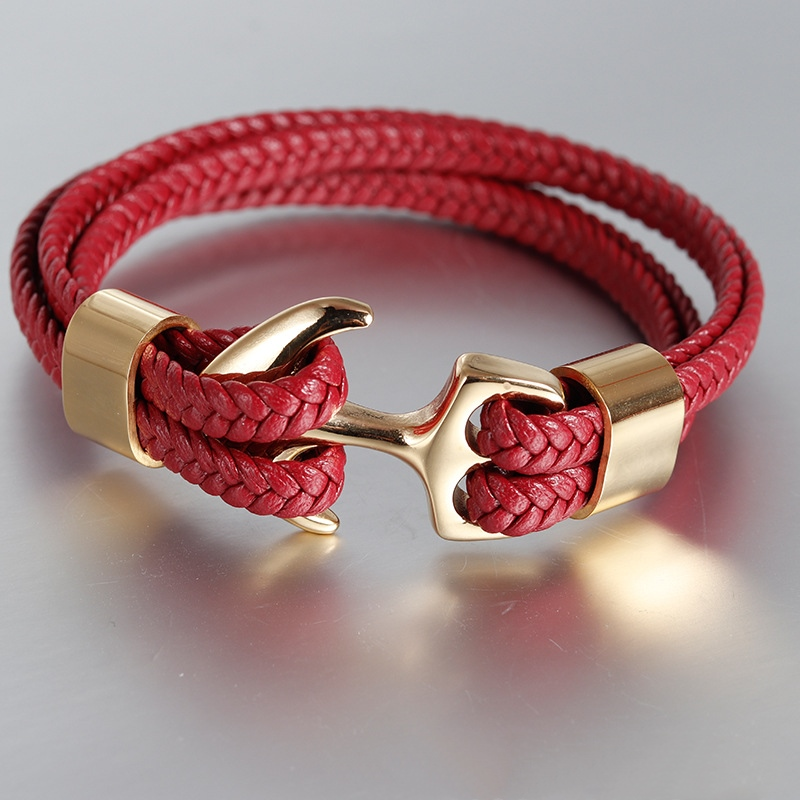 7 Colors Stainless Steel Men Bracelet Red Genuine Leather Gold Black Anchor Multi-layer Braided Bracelet Homme Men Jewel'r'y