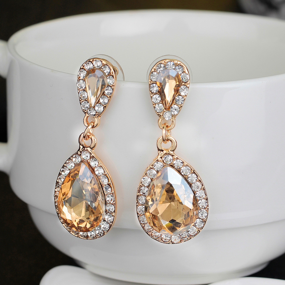 JEAE Fashion Teardrop Champagne Crystal Wedding Long Drop Earrings Gold Elegant Bridal Wedding Engagement Jewelry Accessories
