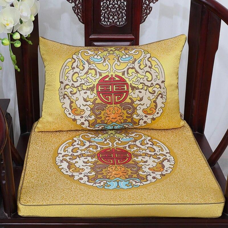 custom vintage chinese silk brocade cushions home decor thick dining chair seat pad sofa mat high end armchair lumbar pillow