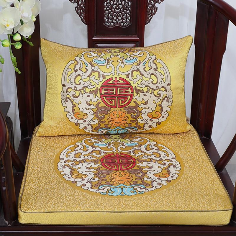 Vintage Chinese Silk Brocade Cushions Home Decor Thick Chair Seat Cushion Sofa Mat Seat Pad HIgh End Armchair Lumbar Pillow in Cushion from Home Garden