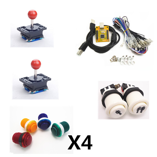 1 kit of Arcade to USB controller 2 player MAME Multicade Keyboard Encoder, duotone round push button and joystick 2 player mame arcade usb kit pc ps3 2 in 1 usb encoder to joysticks 4 8 way