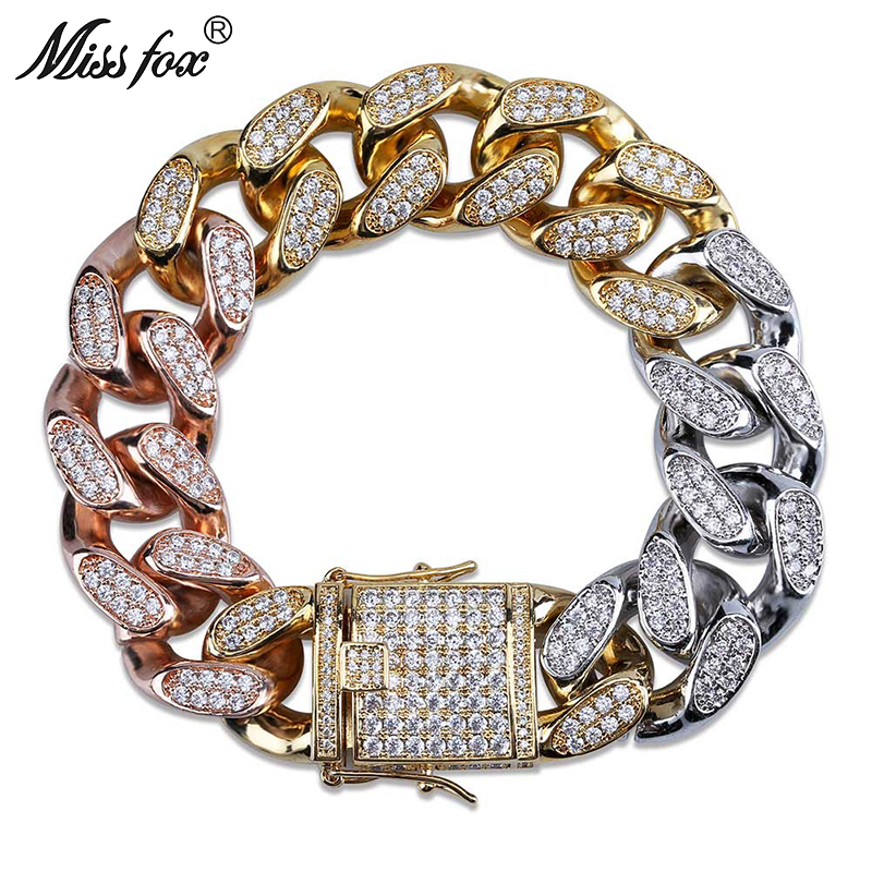 MISSFOX Hip Hop 14 18mm Tricolor Combine Full Diamond Micro Studded Luxury Brand Argent Quotes Personalized