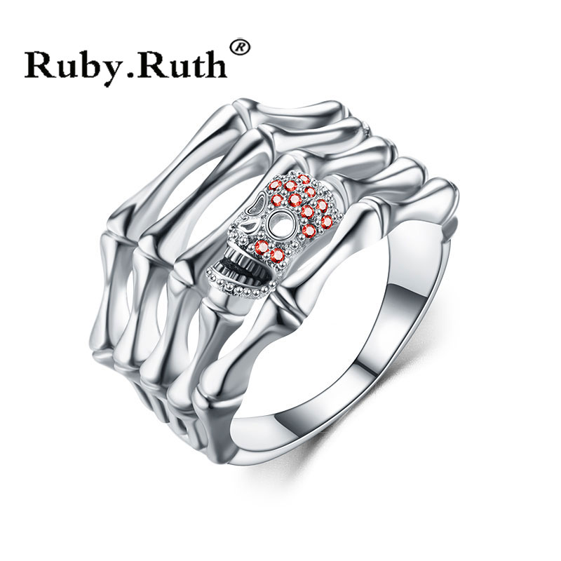 Skull CZ Silver Punk Ring for Women Fashion Jewelry Wedding Gift