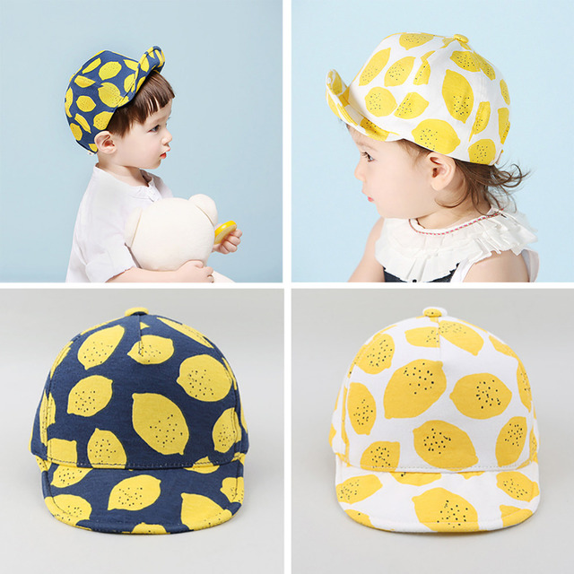 77bfdd02f9 2017 Lemon Fashion Print Children Hats Cute Cotton Baby Kids Newborn Summer  Caps Girls Boys with Soft Edge for 6-18 Months