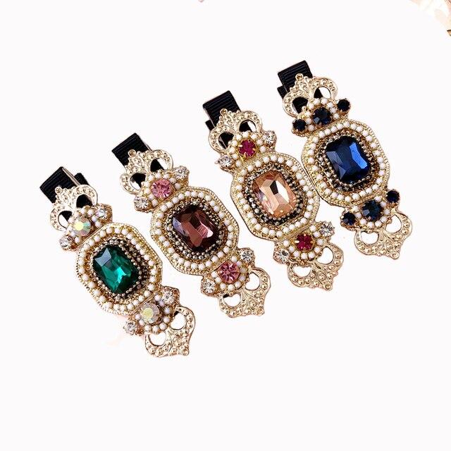 c547578ba46fe Retro palace style hair accessories flower diamond hair clip for girls  crystal duckbill clips hairpins korean