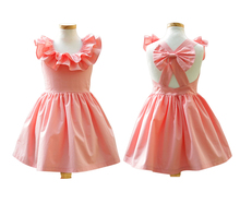 Baby Girls Dress New Summer Beach Style Ruffle Party Backless Bowknot Dresses For Kids Vintage Toddler Children Clothing 2-10Yrs
