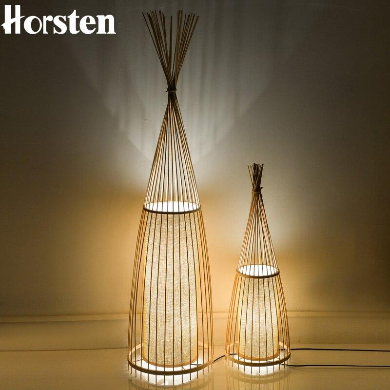 Japanese Style Creative Wooden Bamboo Floor Lamps Art