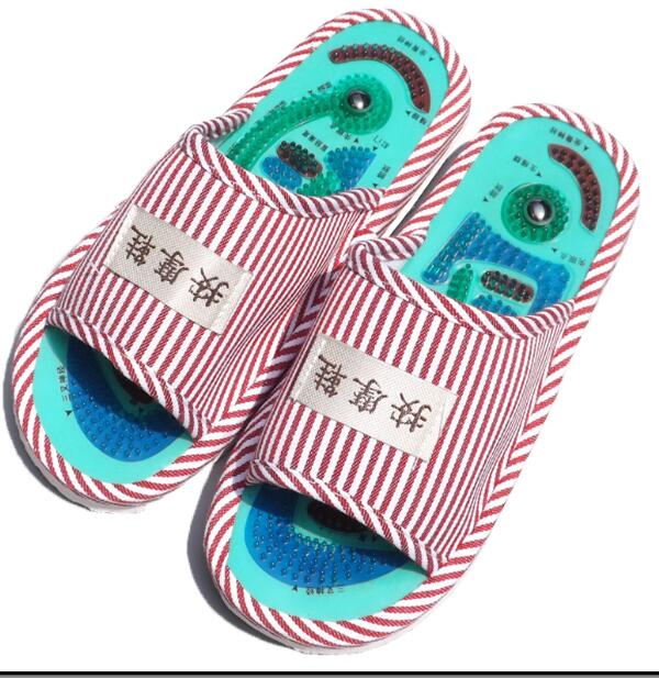 Summer Style Foot Acupoint Massage Shoes Foot Health Care Magnet Therapy Slippers Striped Pattern Indoor Shoes For Women & Men 1