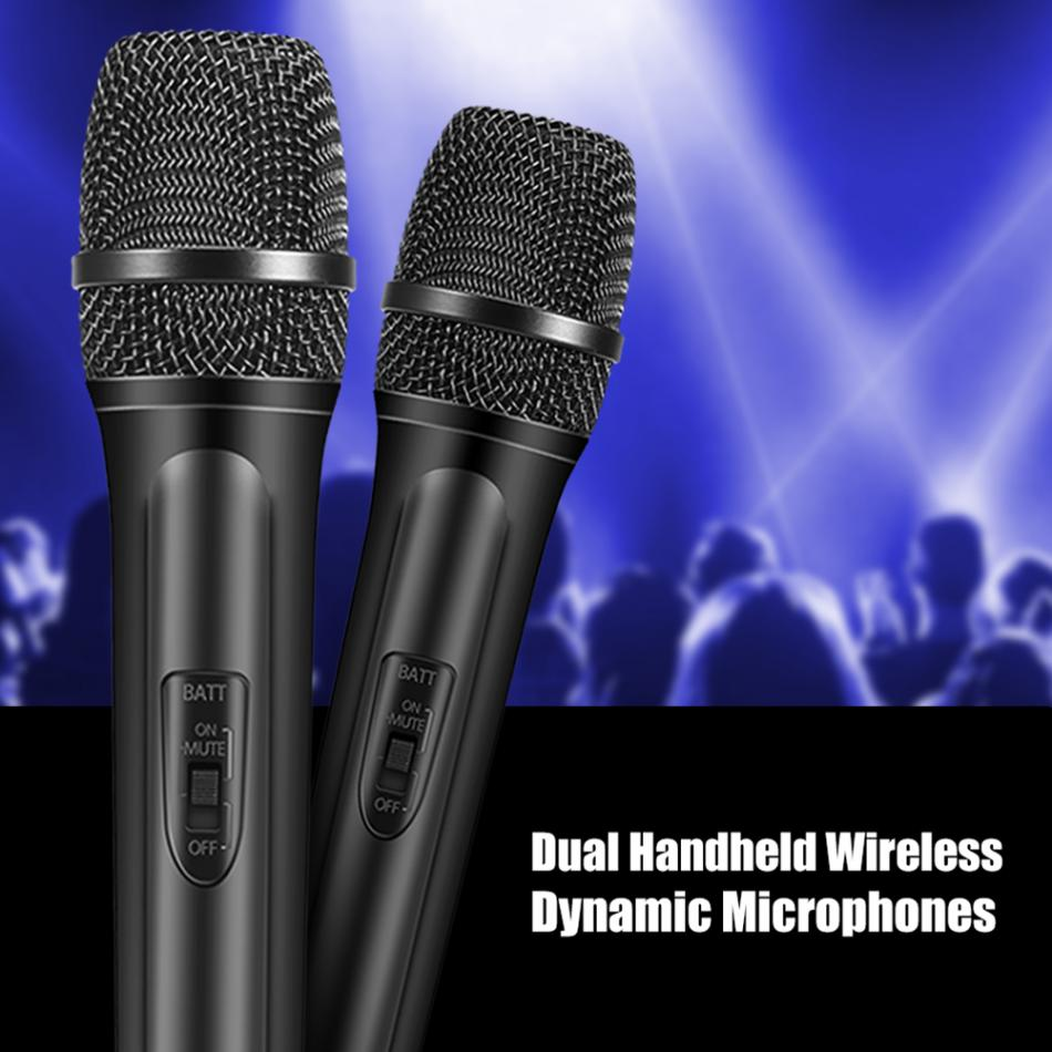VHF Dual Handheld Wireless Mircophone Kit Dynamic Microphones with LCD Receiver System for Karaoke Singing Speech