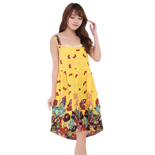 c44bedde8f YZYOUTHZING Yellow Women Nightgown Cotton Suspender Skirt Lace Sleepwear  Casual Dress