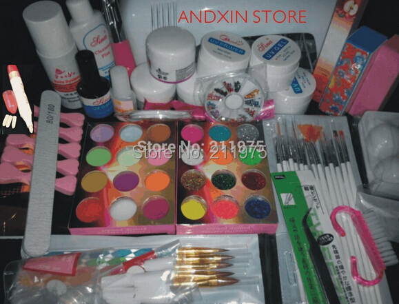 Full Set Acrylic Powder UV Gel kit Brush Pen UV Lamp Nail Art DIY Manicure starter kit 1set Wholesale big discount 8N