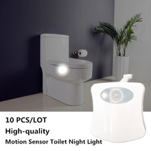 цена на 10 PCS 8 Color Smart PIR Motion Sensor Toilet Night Light Waterproof Backlight Toilet Seat lamp LED Luminaria Lamp WC wall Light