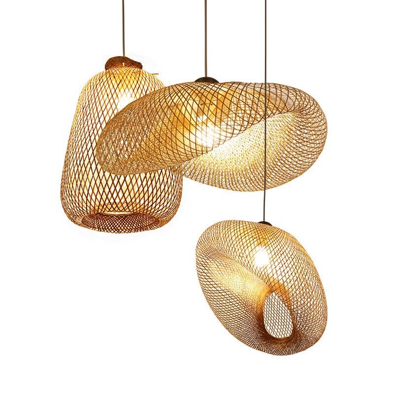BDBQBL originalité vis bambou pendentif lumières AC90 260V E27 américain pendentif lampe pays chambre café Bar LED Hanglamp