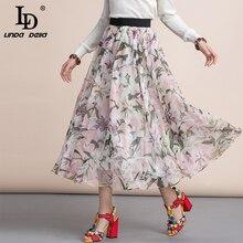 LD LINDA DELLA Vacation style Fashion Summer Midi Skirts Women's elastic Waist Elegant lily Flower Print Casual A Line Skirt недорого