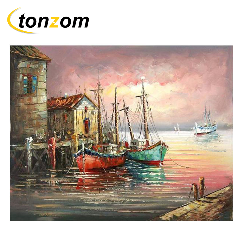 RIHE Twilight World Diy Painting By Numbers Abstract Sailing Boat Oil Painting On Canvas Cuadros Decoracion Acrylic Wall Art