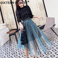 New woman bling tops and blue skirt two piece sets spring street wear blue mesh skirt and black tassel sequin tops for female