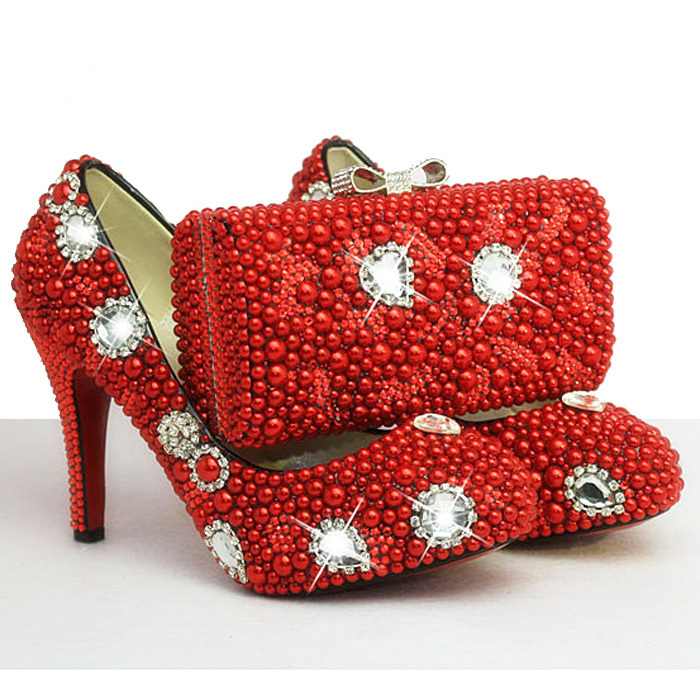 Something Red Wedding Shoes Customized Sparkly Diamond Red High Heels Platfrom Party Evening Shoes Italian Shoes And Bag Set something red wedding shoes customized sparkly diamond red high heels platfrom party evening shoes italian shoes and bag set