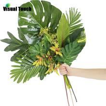 Визуальный контакт 1 шт. Искусственные Поддельные Monstera Пальмовые Листья зеленые растения Свадебные DIY фото фоновый реквизит вечерние украшения