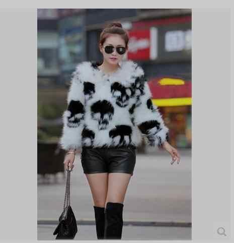 S/9XL Wanita Tengkorak Printing Musim Dingin Musim Semi Faux Bulu Jaket Pendek Bagian Ukuran Besar Kasual Bulu Mantel Wanita Palsu bulu Luaran C11