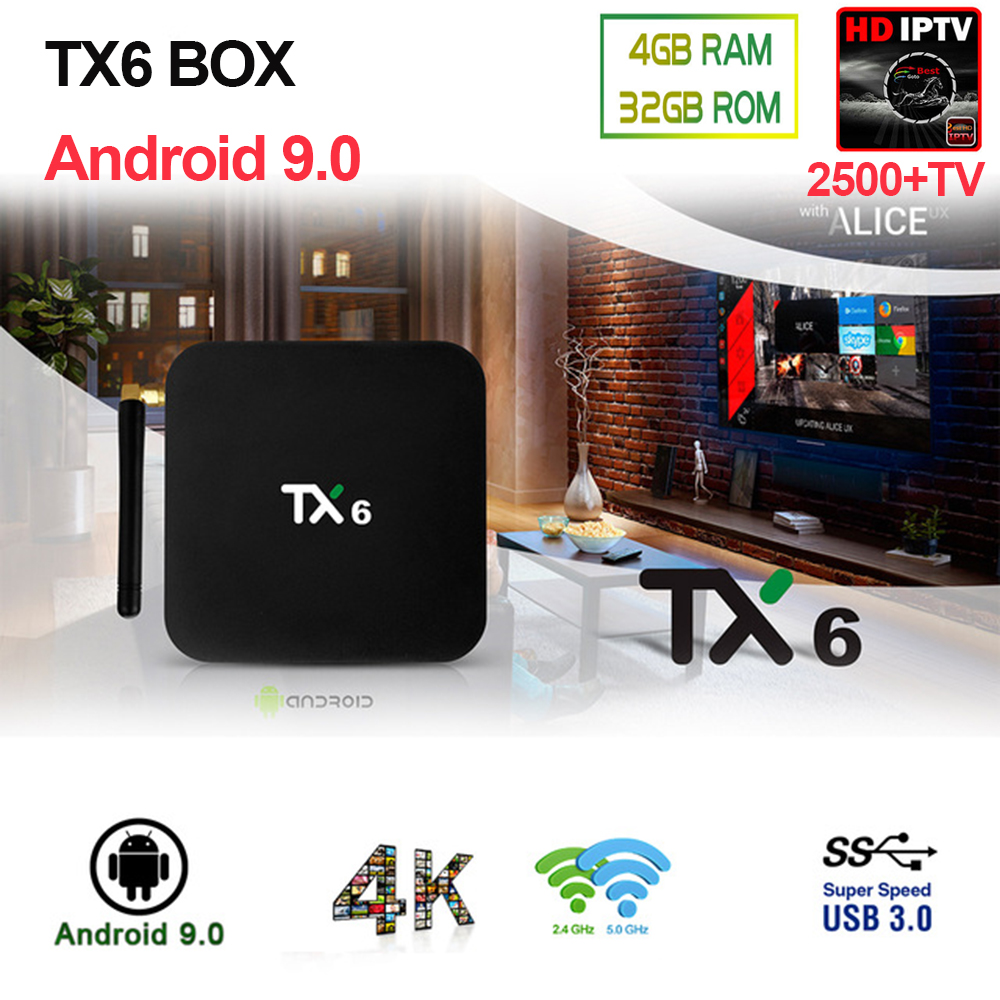 Newest Android 9 0 TX6 IPTV BOX 4G 32G double wifi 2 4G 5G BT 4