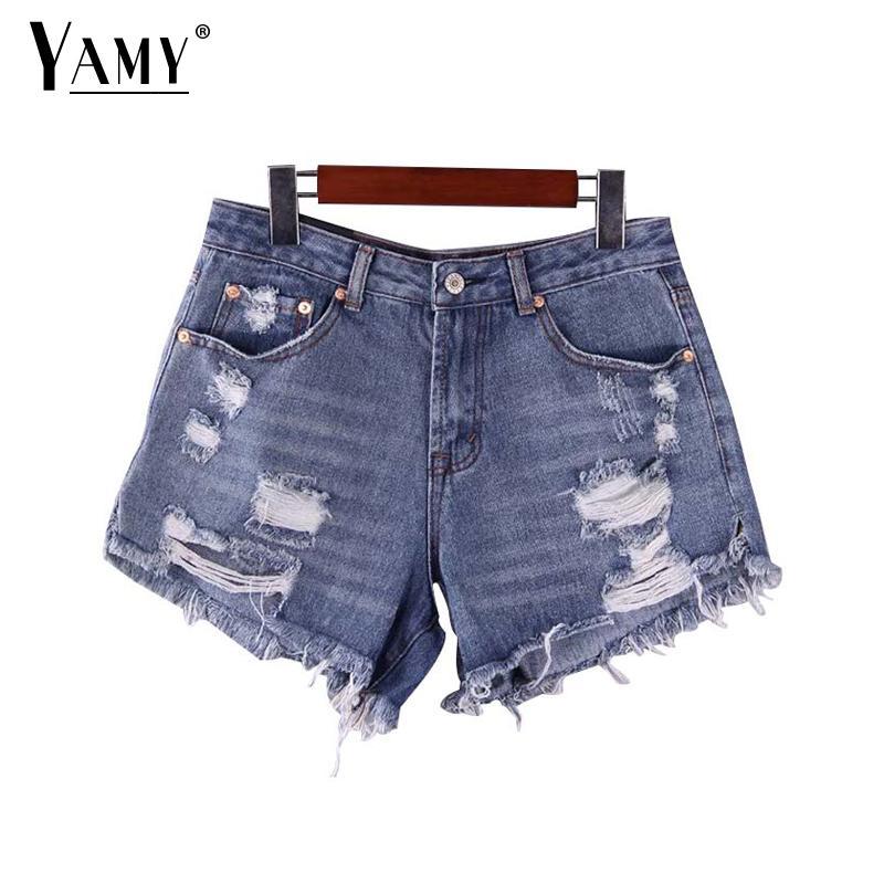 2019 Black jean   shorts   women summer basic denim   shorts   holes pockets zipper female casual korean chic tassel high waist   shorts
