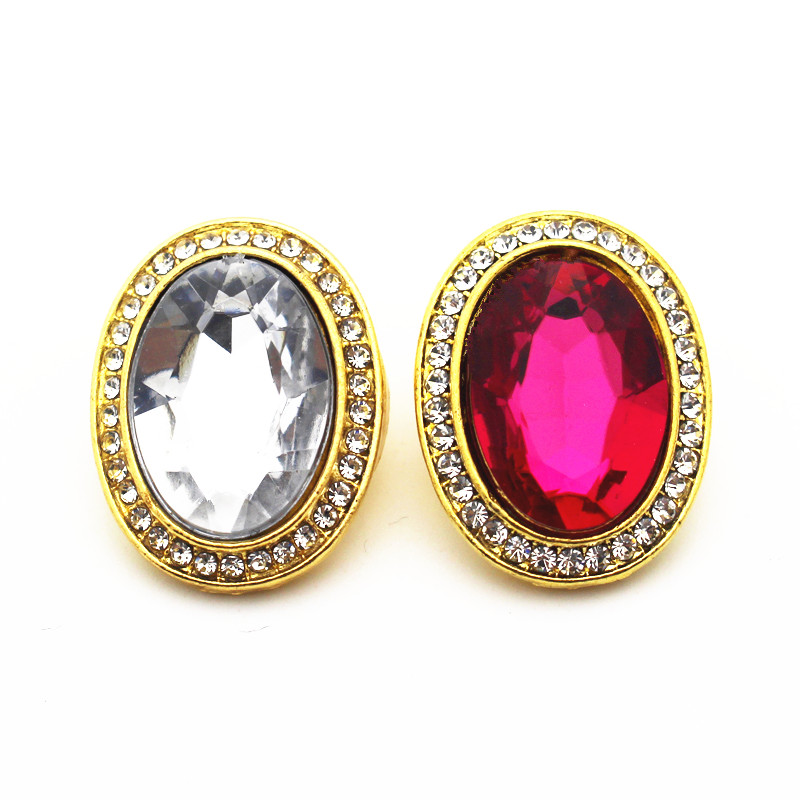 Mixs 10pcs/lot 2 Colors Metal Gold Color Ellipse Crystal Snap Buttons Fit 18mm/20mm DIY Snap Bracelet Necklace Jewelry Making