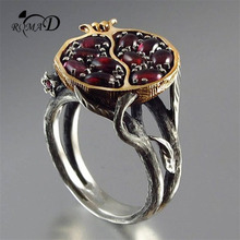 Round High Quality Red Garnet Zircon Ring Vintage Cocktail Rings for Women Fine Jewelry EU and USA retro style decor ring A30